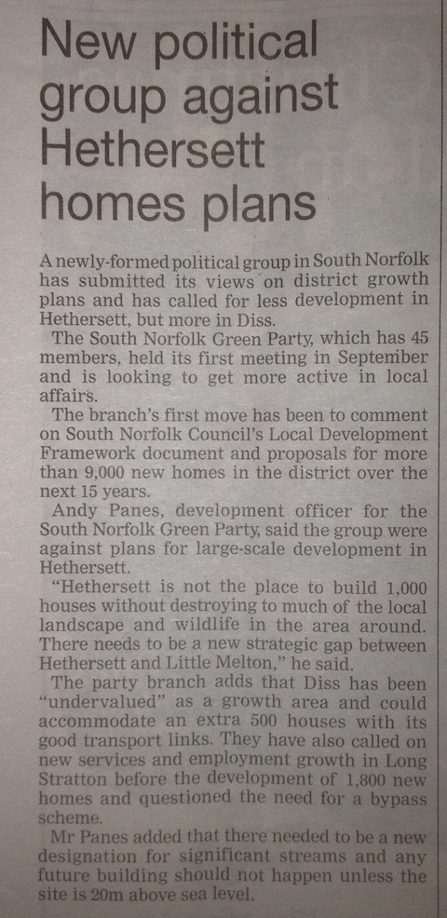South Norfolk Green Party against Hethersett house plans WAM 1 December 2011