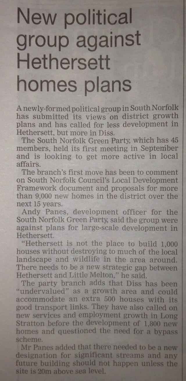 South Norfolk Green Party against Hethersett house plans WAM 1 December 2011